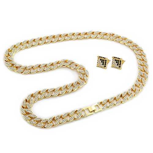 Chain 15mm (Mens Gold Tone Cuban Cz Hip Hop Full Stone Iced Out 30