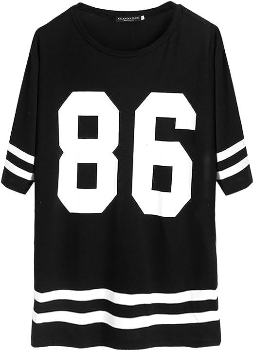Jagenie - Camiseta de béisbol para mujer, manga corta, talla grande, vestido suelto, estilo universitario, con número impreso. 2 X-grande: Amazon.es: Hogar