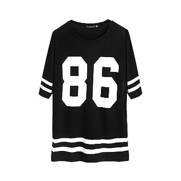 JAGENIE - Camiseta de béisbol para Mujer, Manga Corta, Talla Grande: Amazon.es: Hogar