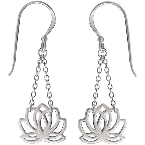 Boma Jewelry Sterling Silver Lotus Blossom Flower Chain Earrings ()