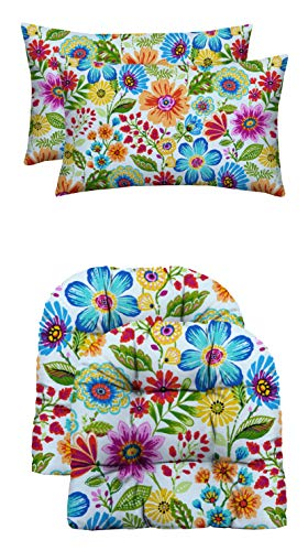 RSH Décor Indoor/Outdoor Wicker Loveseat or 2 U-Shape Chair Cushions & Bonus Pillows - Choose Color and Size (2 - (22