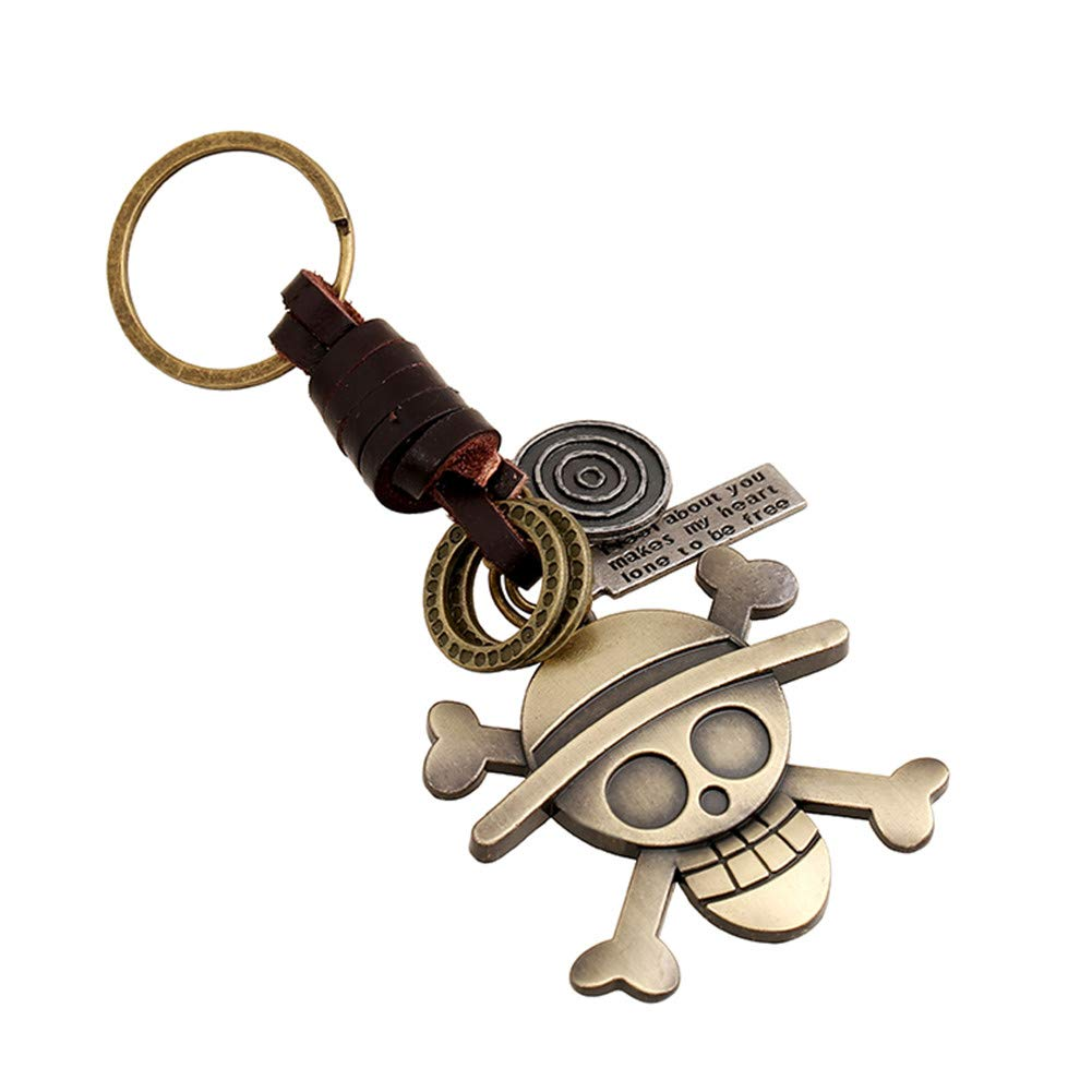 Pirate Skull VCOROS Handcraft Leather Keychain for Car /& Motorcycle Key Backpack Hangbag Pendant Elegant Personality Keychain