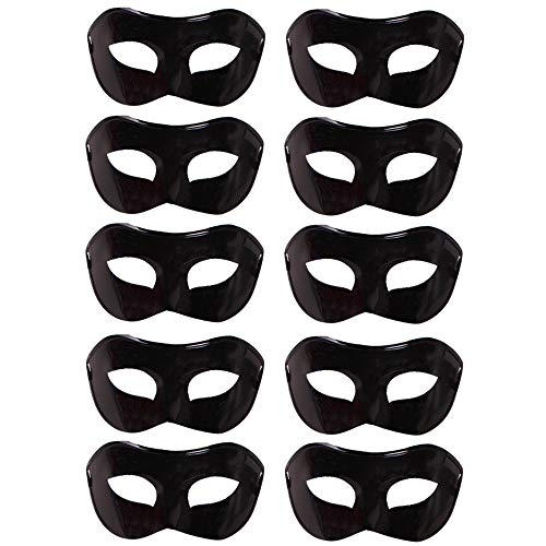 10 Pcs Unisex Retro Masquerade Mask Face Mask Venetian Mask for Fancy Dress Costume Halloween Party(Black)]()