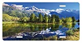 zaeshe3536658 Outdoor License Plate, Snowy Mountains Evergreen Spruce Reflected in Lake City Park Chamonix France, High Gloss Aluminum Novelty Plate, 6 X 12 Inches, Blue Green White
