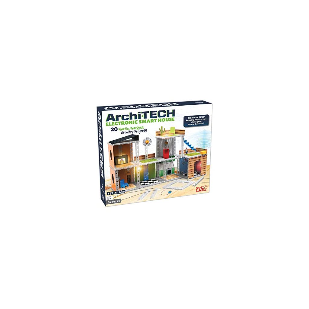 SmartLab Toys Archi-Tech Electronic Smart House – 62 Pieces – 20 Projects – Includes Light and Sound, Multicolor, 16 x 10 x 9