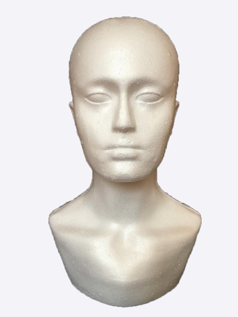 pochers® macho de poliestireno sombrero gafas pelo peluca maniquí soporte pantalla cabeza modelo blanco