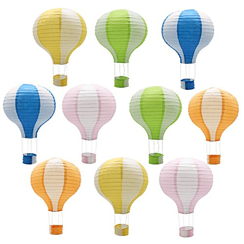 Hanging Hot Air Balloon Paper Lanterns Reusable Chinese Japanese Party Decorations Wedding Birthday Anniversary Christmas Engagement, Set of 10 -