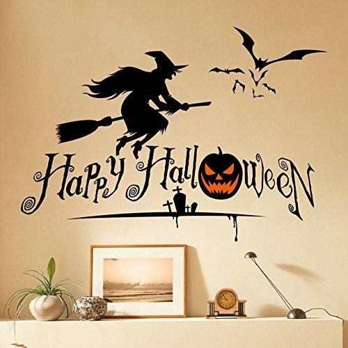 Smartcoco DIY Creative Pumpkins Spooky Cemetery Witch Wall Sticker Vivid Wallpaper Poster Kid Room Living Room Bedroom Halloween Decor (Happy Halloween Nyc)
