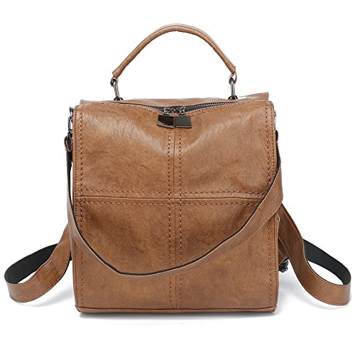 - Leparvi Women Backpack Purse Leather Shoulder Bag Square Rucksack Vintage Satchel(Brown)