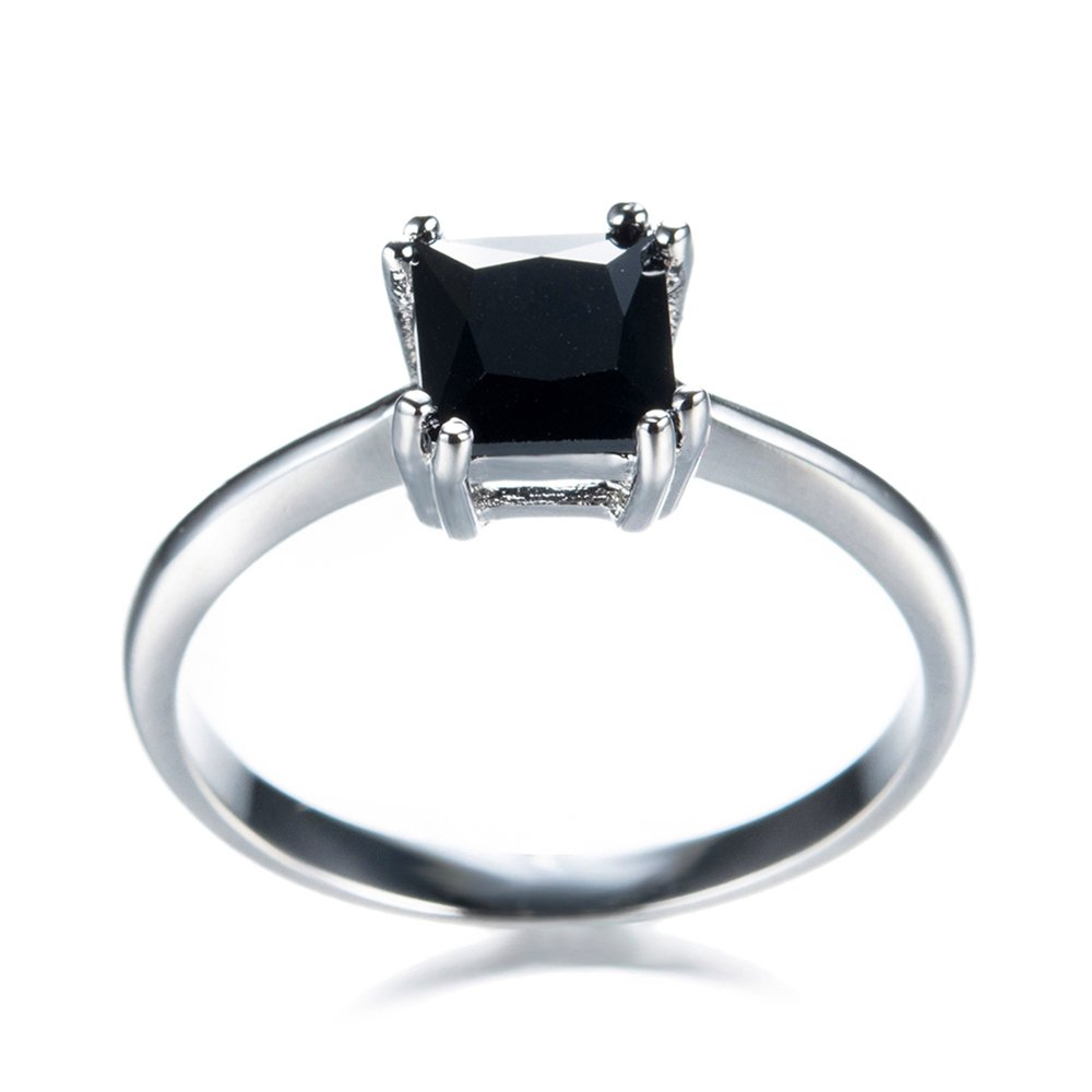 FT-Ring Fashion Black Geometric Zircon White Gold Filled Jewelry Vintage Ring For Women Wedding Rings