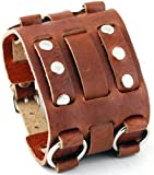 Nemesis #WB-B Wide Brown Leather Tri Clasp Cuff Wrist Watch Band