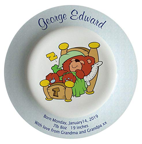 Personalized Birth Plate with a Blue Rim - Bear in Bed Design
