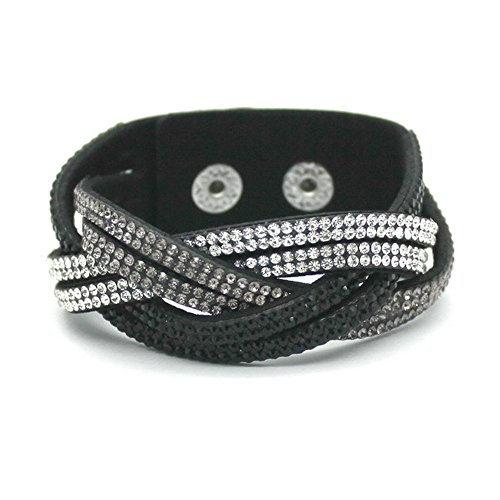 women's charm Distortion bracelets rhinestone Leather snake Chain bracelets (Black)