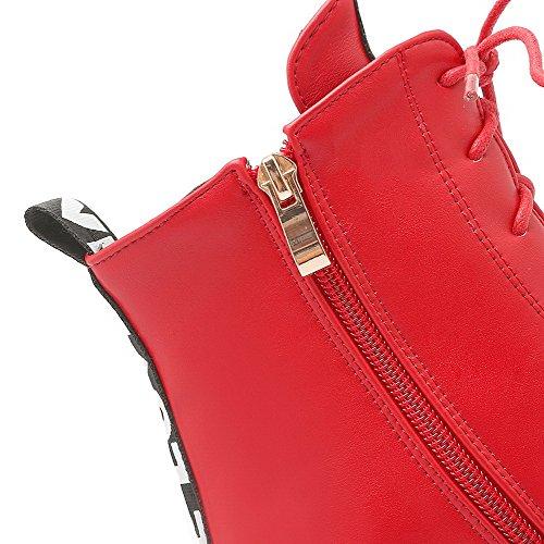 AllhqFashion Mujeres Cremalleras Puntera Redonda Cuña Colores Surtidos Caña Baja Botas Rojo