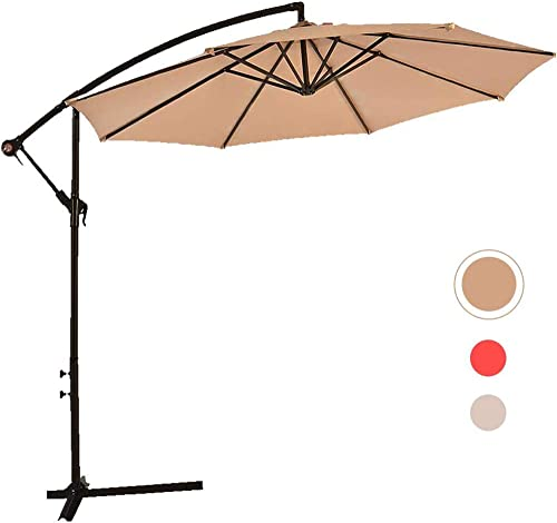 Dkeli 10 ft Patio Umbrellas Cantilever Offset Hanging Umbrella