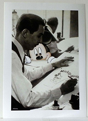 DISNEYLAND MICKEY MOUSE WATCHING WALT DISNEY DRAW AT HIS EASEL COLOR ART PRINT
