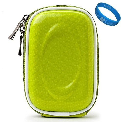 Green Candy VG Compact Semi Hard Protective Camera Case for Sony Cyber-shot DSC-T99 / DSC-WX5 / DSC-TX9 / DSC-TX5 / DSC-TX7 / DSC-W330 / DSC-W350 / DSC-W310 / DSC-W380 / DSC-W320 / DSC-TX1 / DSC-S980 / DSC-W290 / DSC-T900 / DSC-T90 / DSC-S950 / DSC-W230 / DSC-W220 Point & Shoot Digital Cameras + SumacLife TM Wisdom Courage Wristband (Camera T90 Digital Compact)