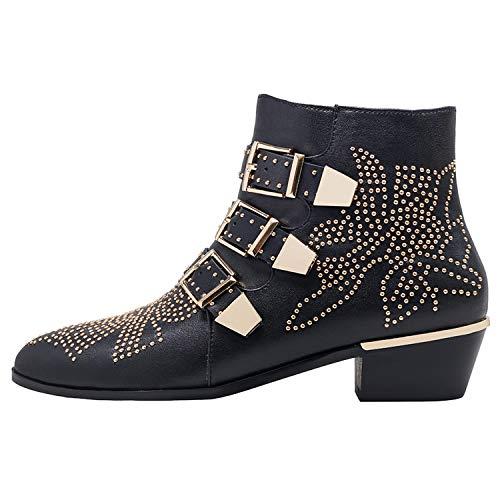 - GEEDIAR Leather Ankle Boots,Women Low Heel Studded Chunky Buckle Mental Rivet Black Bootie Size 11