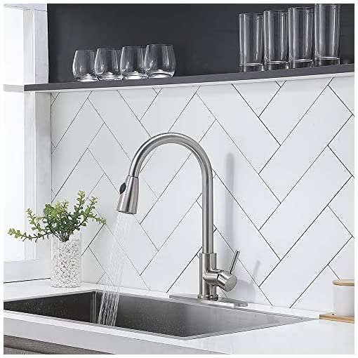 Kitchen Casilvon Modern Commercial Single Handle High Arc Brushed Nickel Pull Out Kitchen Faucet,Single Level Stainless Steel… modern sink faucets