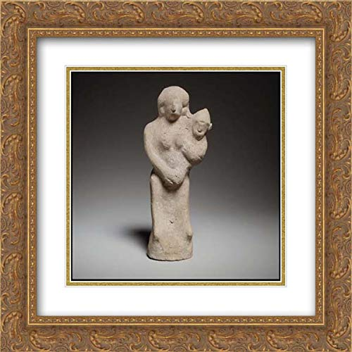 Cypriot Culture - 20x20 Gold Ornate Frame and Double Matted Museum Art Print - Seated Female Figurine Holding a Baby