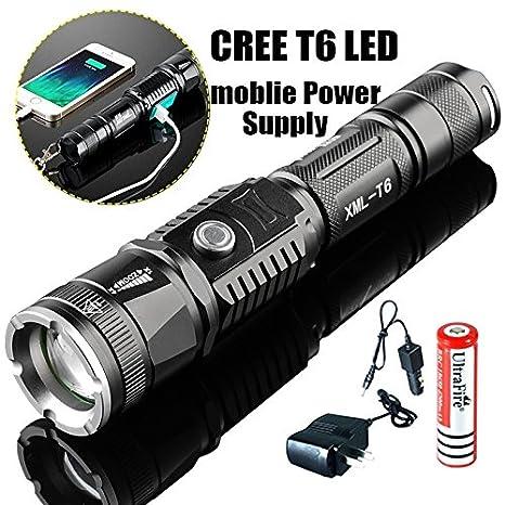 Amazon Xm L T6 Led Torch Range Penlight Flashlight Phone Usb