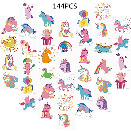 (Unomor 144PCS Unicorn Temporary Tattoos for Kids Birthday Party Unicorn Party Supplies Girls Party Favors)
