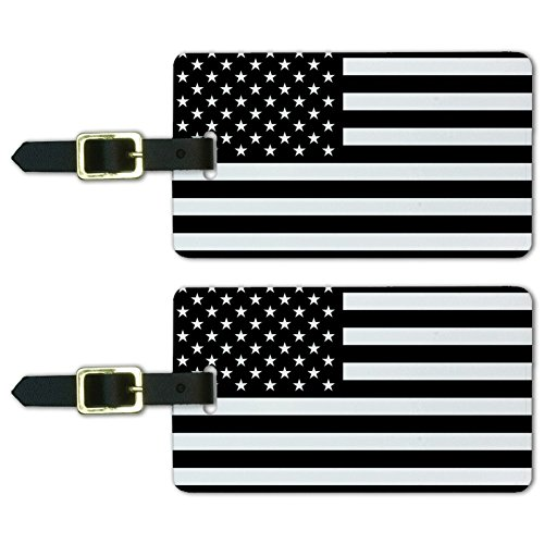 Subdued American USA Flag Black White Luggage ID Tags Cards Set of 2 ()