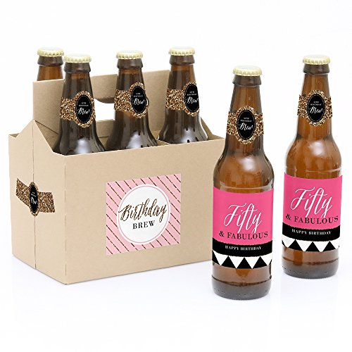 Chic 50th Birthday - Pink, Black and Gold - Birthday Party Decorations for Women - 6 Beer Bottle Label Stickers and 1 Carrier