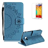 Funyye Strap Magnetic Flip Cover for Samsung Galaxy A8 2018,Blue Embossed Half Flower Pattern Luxury PU Leather Wallet with Stand Card Holder Slots Protective Case for Samsung Galaxy A8 2018,All Around Shockproof Ultra Thin Slim Fit Case for Samsung Galaxy A8 2018 + 1 x Free Screen Protector