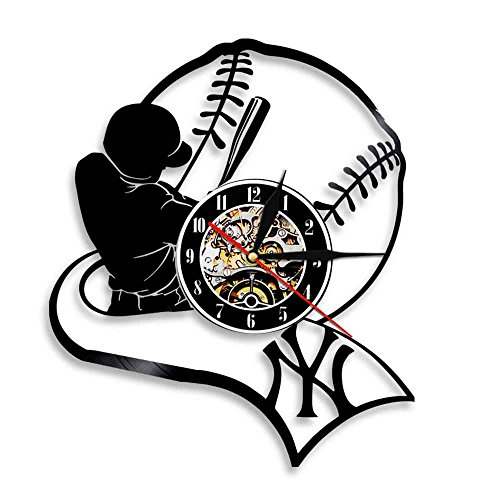 - American Professional Baseball Team Player Vinyl Record Wall Clock Modern Design Sport Theme For Baseball Fan Lover Gift Idea (No Led)