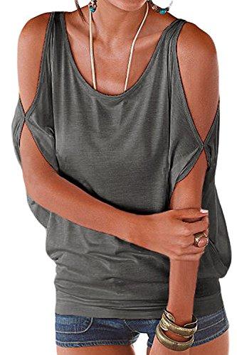 Manches t Blouses Grey T Occasionnels Libert Tops Shirt Femmes Figure Tee IxtztwUZ