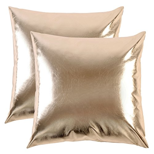 (SurCozy Luxury Modern Metallic Soft PU Cushion Cover, Faux Leather Shiny Silver/Golden Decorative Throw Pillow Case for Sofa/Bed/Party (Gold, A Set of Two, Each 18
