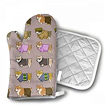 NoveltyGloves Unisex Pembroke Welsh Corgi Oven Mitts,Professional Heat Resistant Microwave BBQ Oven Insulation Thickening Cotton Gloves Baking Pot Mitts Soft Inner Lining Kitchen Cooking
