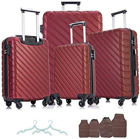 Apelila 4 Piece Hardshell Luggage Sets,Travel Suitcase,Carry On Luggage with Spinner Wheels Free Cover&Hanger Inside (Wine)
