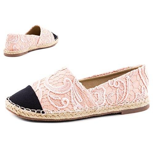 Stylische Damen Espadrilles Sommer Slipper Ballerinas Spitze Pink