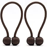 YMQY Pack-2 Curtain Tiebacks,Strong Magnetic Window Holdbacks/Holder for Home Office Decorative Drapes(40cm, Coffee)
