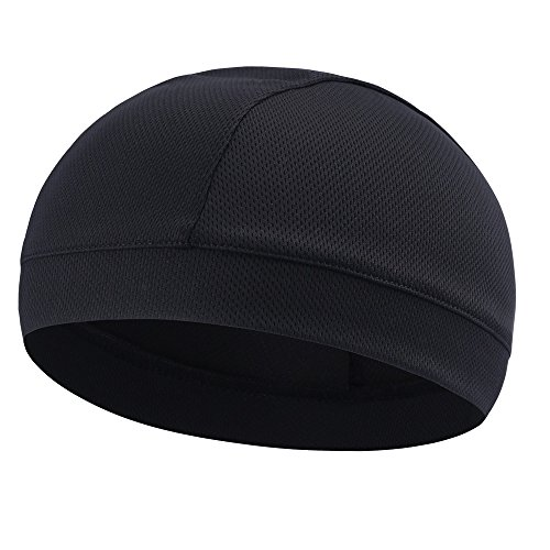 Tofern Summer Moisture Wicking Elastic Skull Cap Helmet Liner Bandana Beanie Hat for Outdoor Cycling Running Sport Motorcycle Polyester, Black