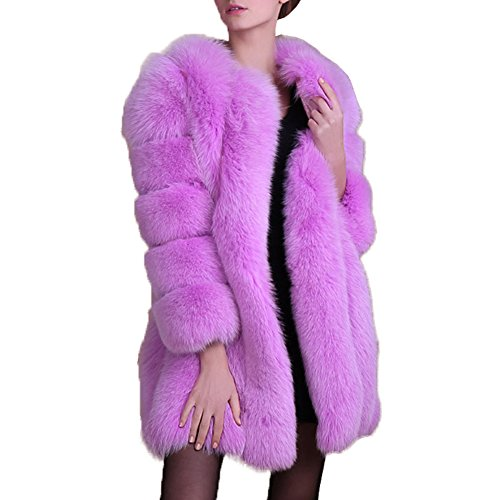 Coat Costume Fake Fur (ANRABESS Women's Winter Thick Outerwear Warm Long Fox Faux Fur Coat Purple L)