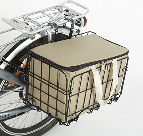 Onway Front handlebar bike basket folding bicycle Lift Off Basket with Carrier tote Basket liner Bag, brown/black