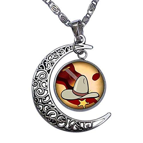 GiftJewelryShop Music Theme Cowboy Guitar Crescent Moon Galactic Universe Glass Cabochon Pendant Necklace