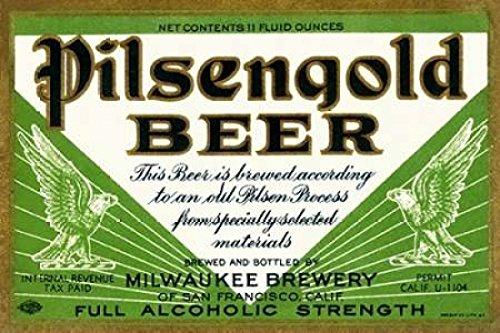 Pilsengold Beer Poster Print by Vintage Booze Labels (24 x 36) - Pilsengold Beer