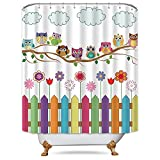 Owl Shower Curtain Riyidecor Owl Shower Curtain Set Metal Hooks 12-Packs Sunny Day Cloud Countryside Owls on a Branch Decor Fabric Set Polyester Waterproof 72x72 Inch