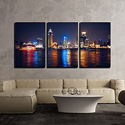 Quality Artwork, Unbelievable Handicraft, Night View of Bu Building Skyscraper x3 Panels