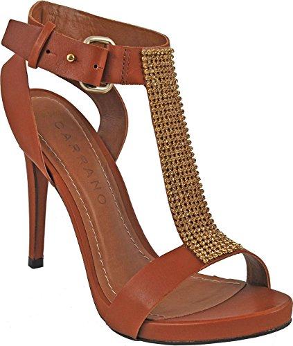 Carrano Kvinna Läder Strappy Sandal W / Strass Brun