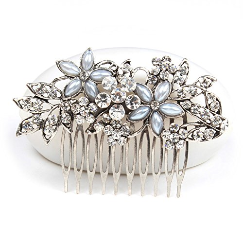 Women Flower Crystal Rhinestone Pearls White K Hair Comb Clip Wedding Bridal (Silver)