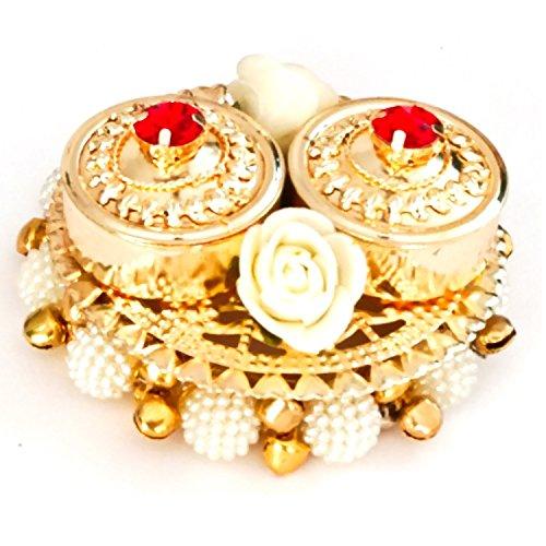 SAHAYA Haldi Kumkum Box with lid, Elegant, Handmade in Golden Acrylic - Decorated with Flowers, Bells, Colored Crystals ()