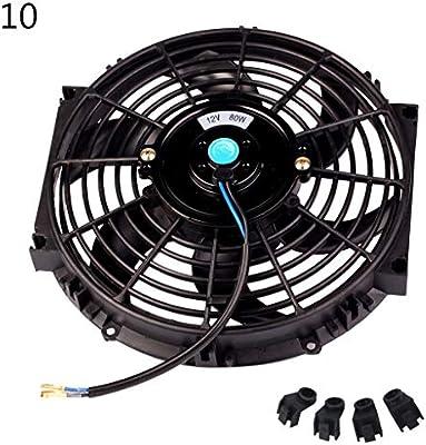 ZijianZZJ Ventilador Universal de 12 V para radiador de Auto, Ventilador de refrigeración de Motor eléctrico de Empuje Delgado, 10/12/14 Pulgadas, Negro, 10inch: Amazon.es: Hogar