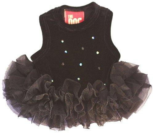 The Dog Squad Velvet Twinkle Tutu Pet Dress, Medium, Black