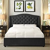 Hampton and Rhodes Mackenzie Upholstered Platform Bed in Charcoal in Queen