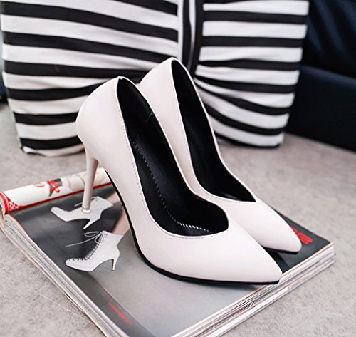 Ms Tacón Zapatos Lechoso Coreana Temperamento LBDX Color Sexy Primavera y Otoño Versión Blanco cm Puro Elegante 10 Señaló Delgado wqAq6pv1x